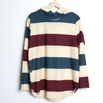 Blue and Burgundy Striped Hoodie