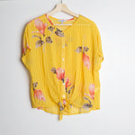 Yellow Floral Front Tie Top