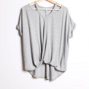 Short Sleeve Knit Top with Cut Outs