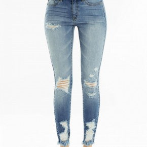 Kancan Light Wash Distressed Skinny Jeans