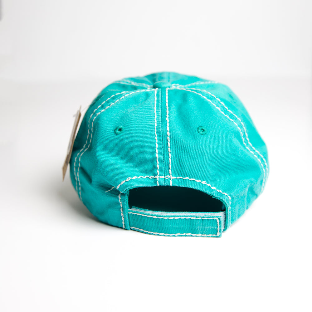 Teal Mama Bear Baseball Hat