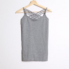 Gray Seamless Criss Cross Cami