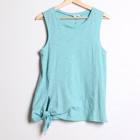 Teal Sleeveless Top with Side Tie Detail