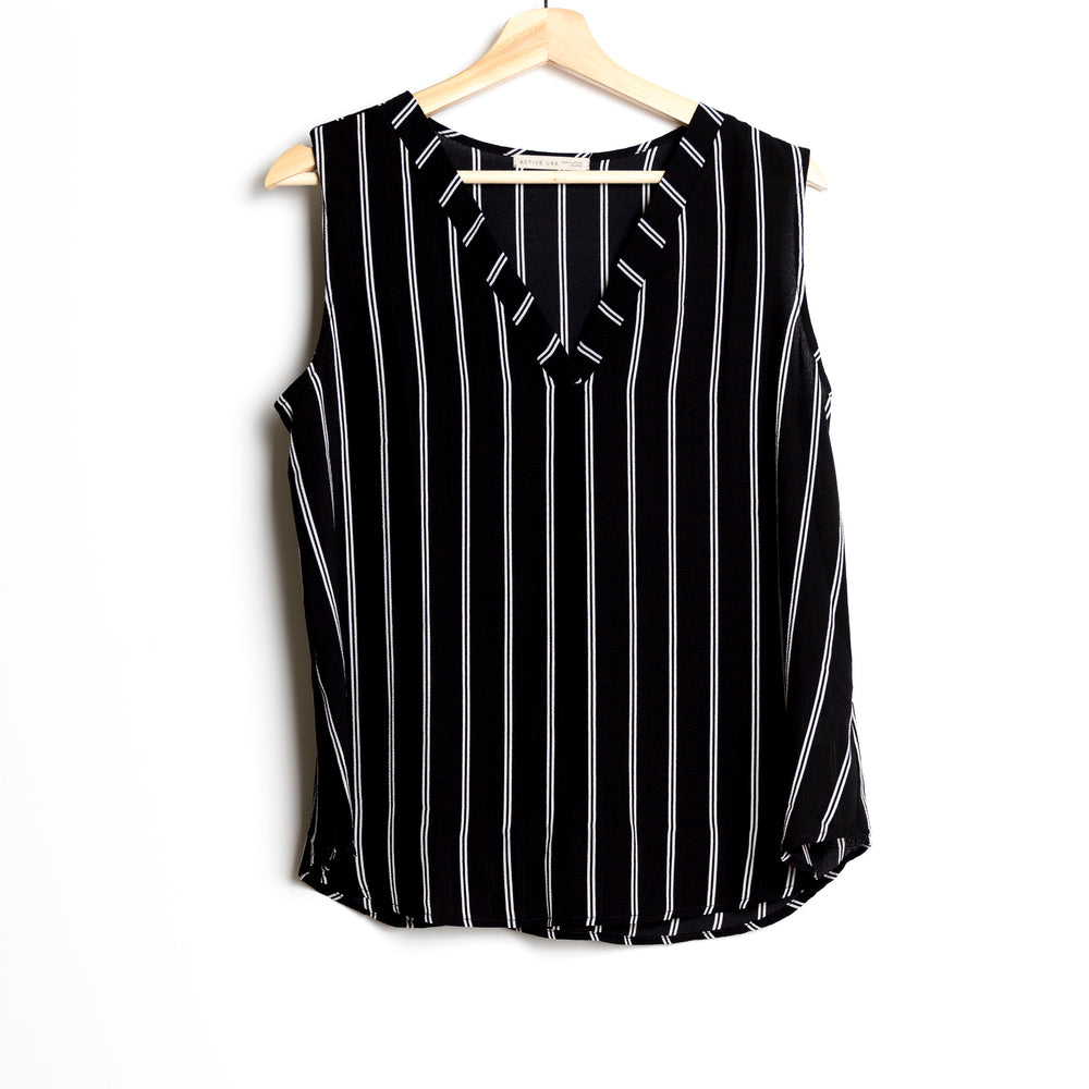 Black with Off White Sleeveless Striped Plus Size Woven Top