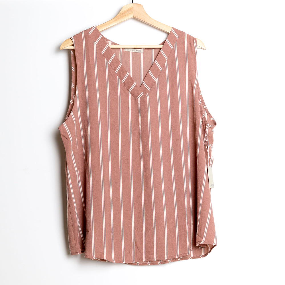 Tan with Off White Sleeveless Striped Plus Size Woven Top