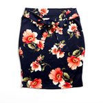 Navy Floral Pencil Skirt with Bow Tie