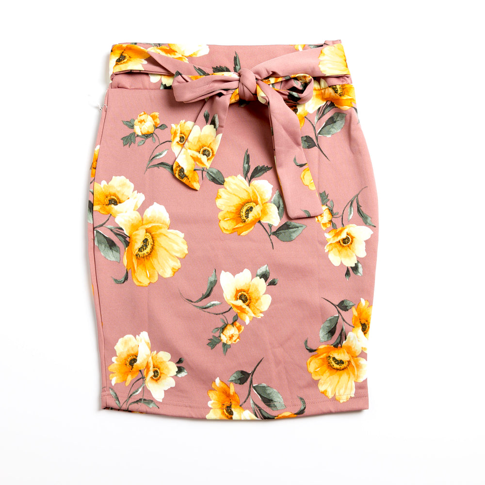Mauve Floral Pencil Skirt with Bow Tie