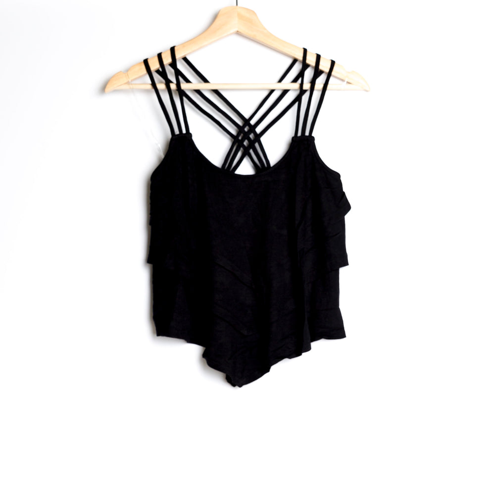 Black Cropped Layered Tank with Criss Crossed Back Strap and Asymmetrical Hem