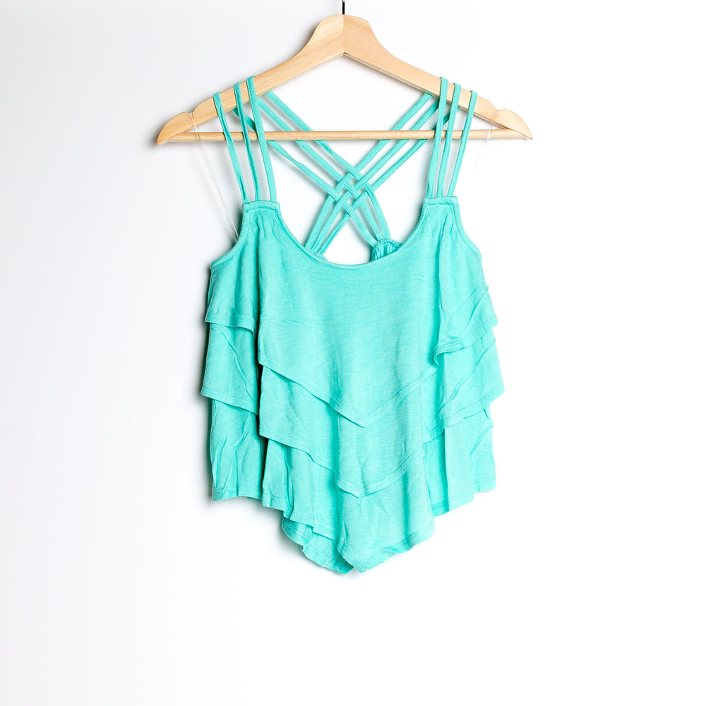 Turquoise Cropped Layered Tank with Criss Crossed Back Strap and Asymmetrical Hem