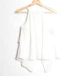 Off White Halter with Back Ruffle Woven Top