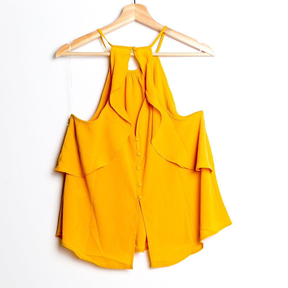 Mustard Halter with Back Ruffle Woven Top