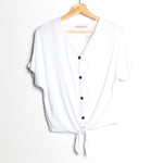 White Short Dolman Sleeve with Button Detail Front Tie V-Neck