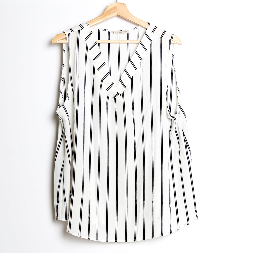 Off White with Black Sleeveless Striped Plus Size Woven Top