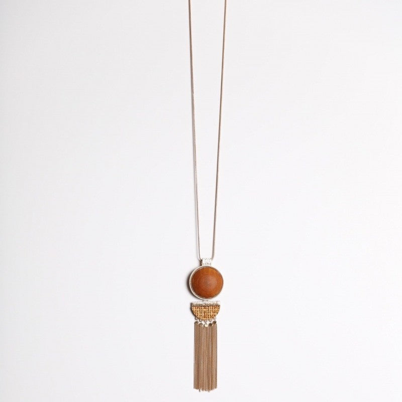 Gold and Wood Tassel Pendant Necklace