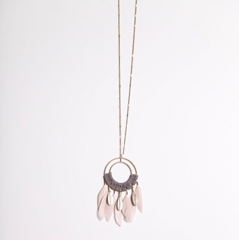 Pink and Gray Faux-Feather Pendant Necklace