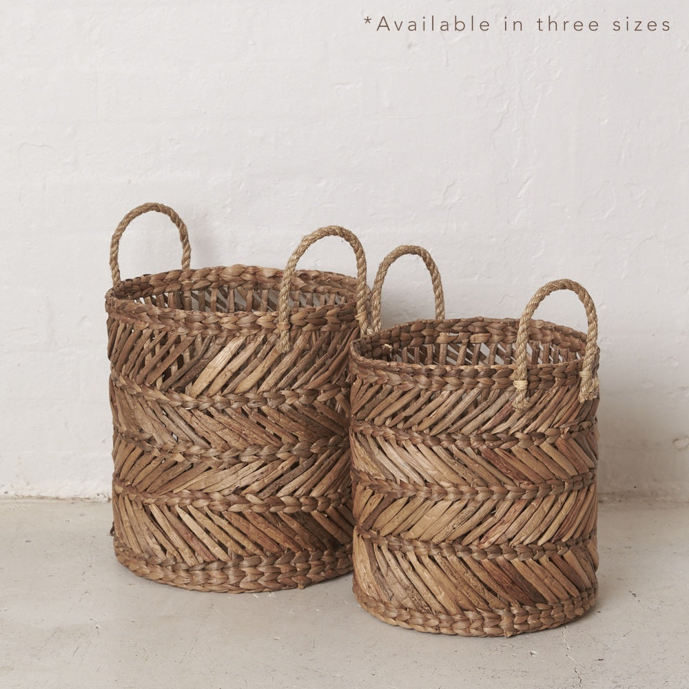 Mikal Natural Waterhyacinth Basket with Rope Handles