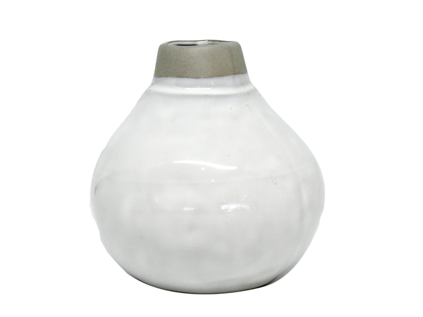 Ghost vase glazed white w putty top med D12xH12cm