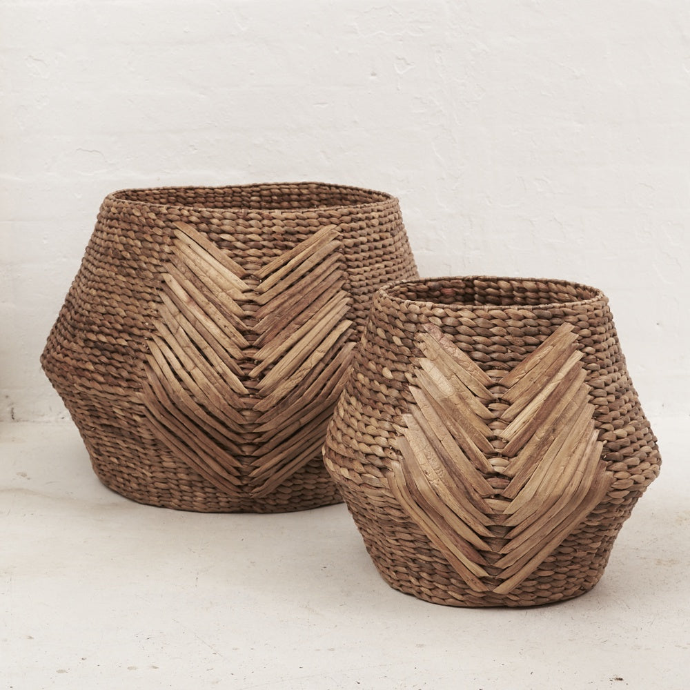 OVERSIZE TRIBAL WEAVE BASKET