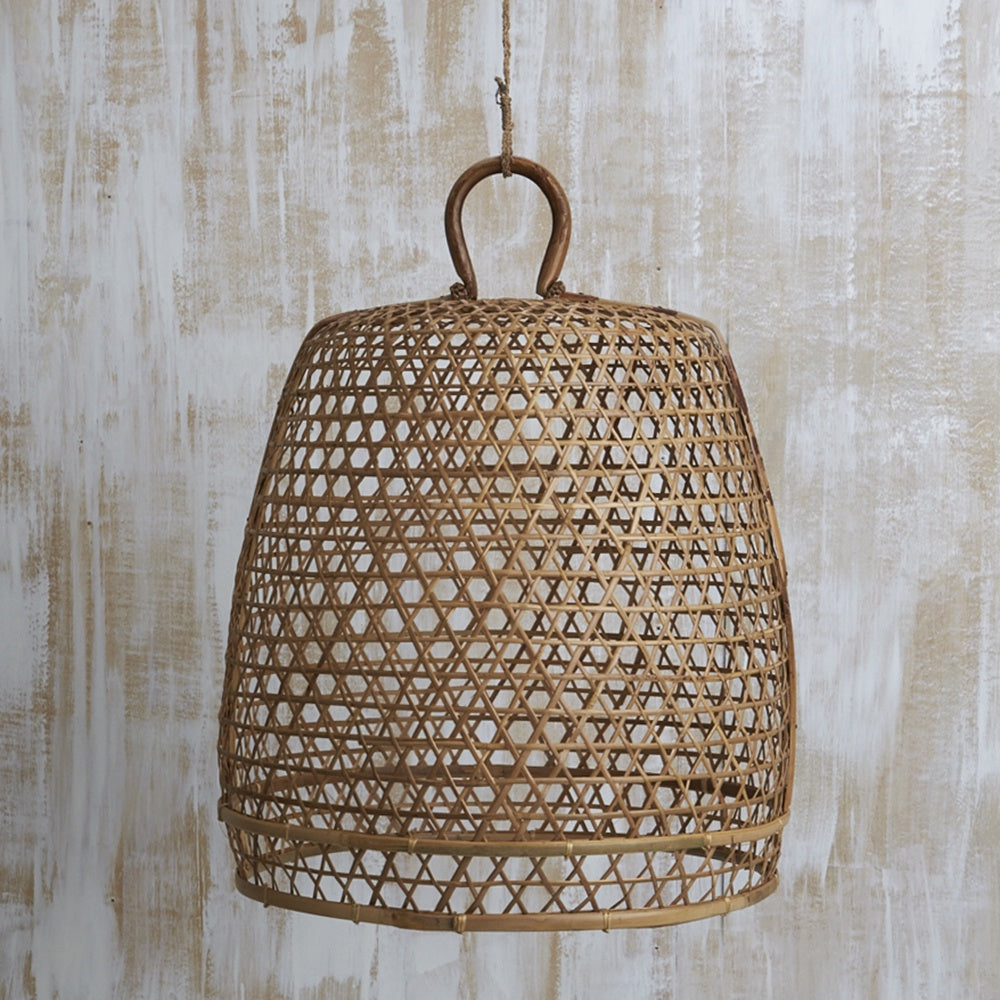 Handwoven Bamboo Natural Lighting with Handle Large