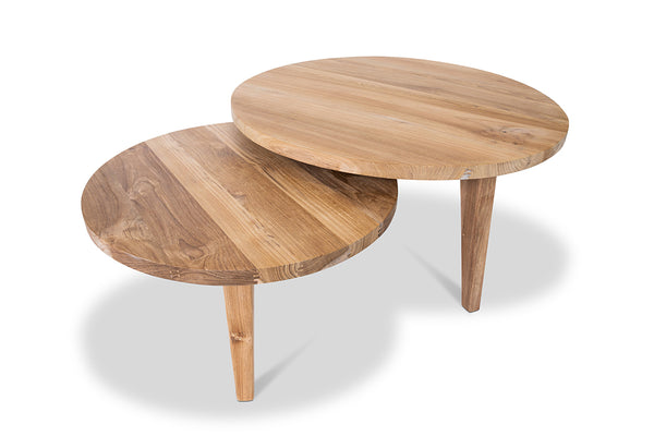 Teak nested round coffee table