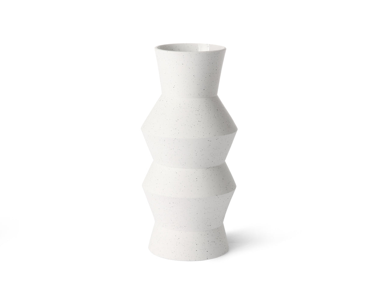 White Speckled Clay Vase Angular M