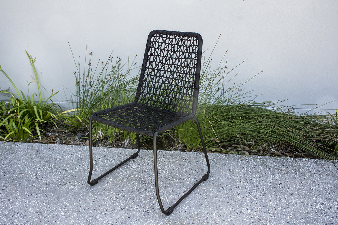 Marine Rope Dining Chair (Black Cross Weave)