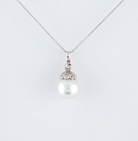 South Sea Tahitian Pearl and Diamonds in White Gold Necklace
