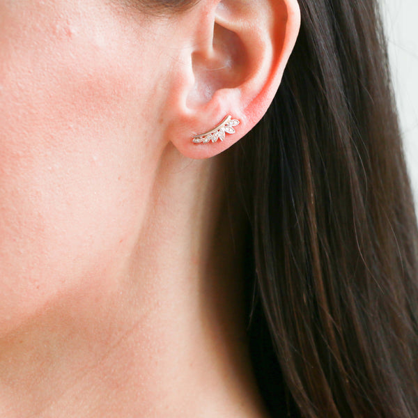 *SOLD* Diamonds in Rose Gold Crawler Earrings - Sindur