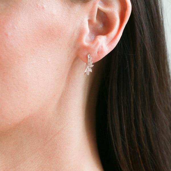 Diamonds in Rose Gold Crawler Earrings - Sindur