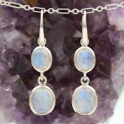 Moonstones in Sterling Silver Drop Earrings