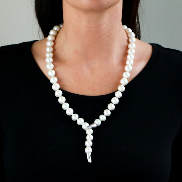 Freshwater Pearls in Sterling Silver Necklace - Sindur Style