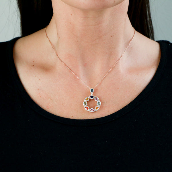 Multi-color Sapphires and Diamonds in Rose Gold Necklace - Sindur