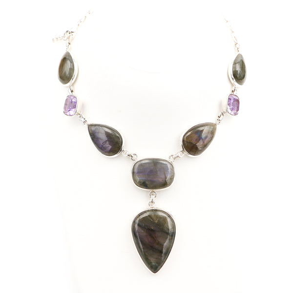Labradorite and Amethysts in Sterling Silver Necklace - Sindur Style