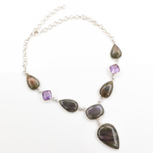 Labradorite and Amethysts in Sterling Silver Necklace - Sindur