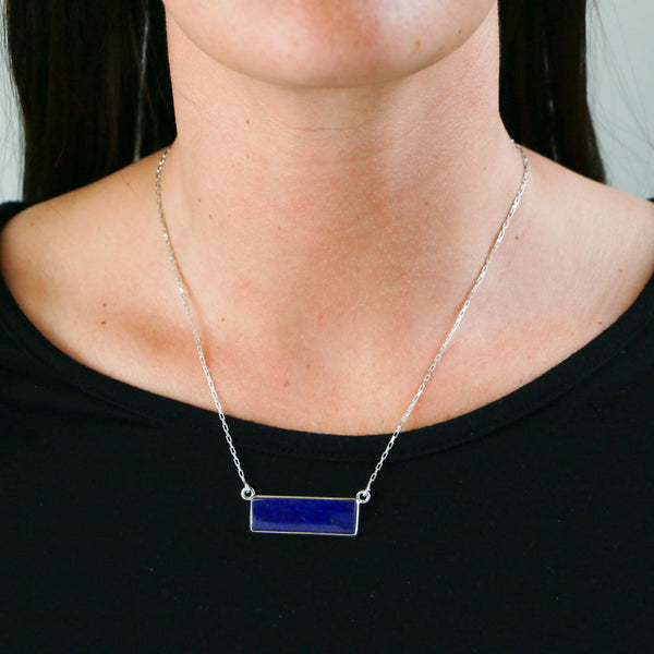 Lapis in Sterling Silver Necklace - Sindur Style
