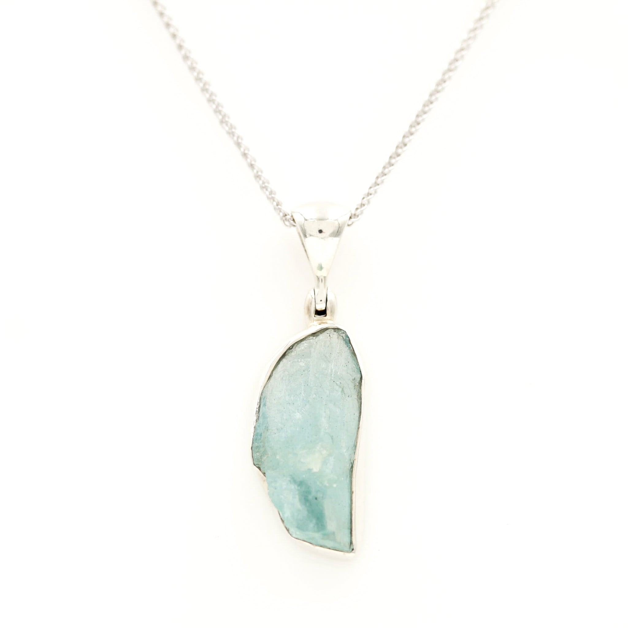Organic Aquamarine in Sterling Silver Necklace - Sindur Style