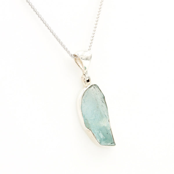 Organic Aquamarine in Sterling Silver Necklace - Sindur