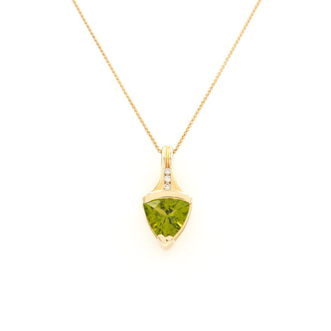 *SOLD*  Peridot in Yellow Gold Necklace - Sindur