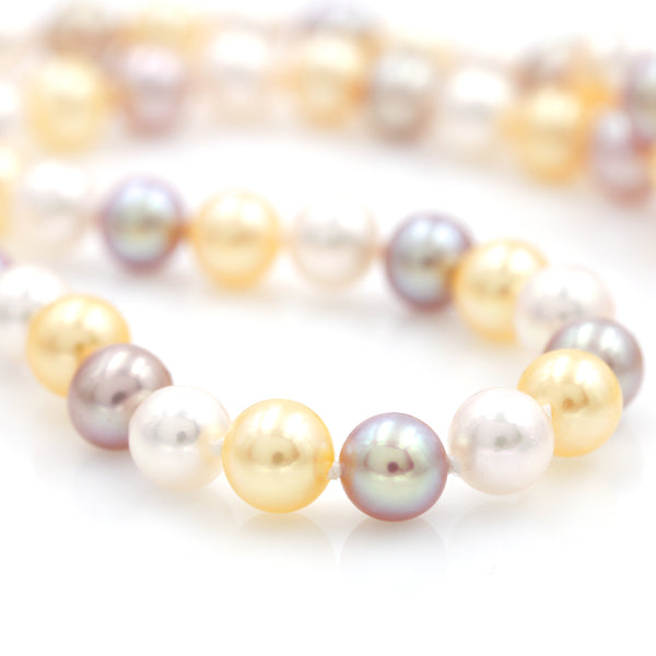 Multi-colored Pearl Strand with White Gold Clasp - Sindur