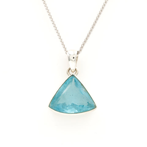 Aquamarine in Sterling Silver Necklace - Sindur Style