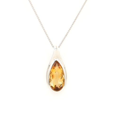 Pear Shaped Citrine in Sterling Silver Necklace - Sindur Style