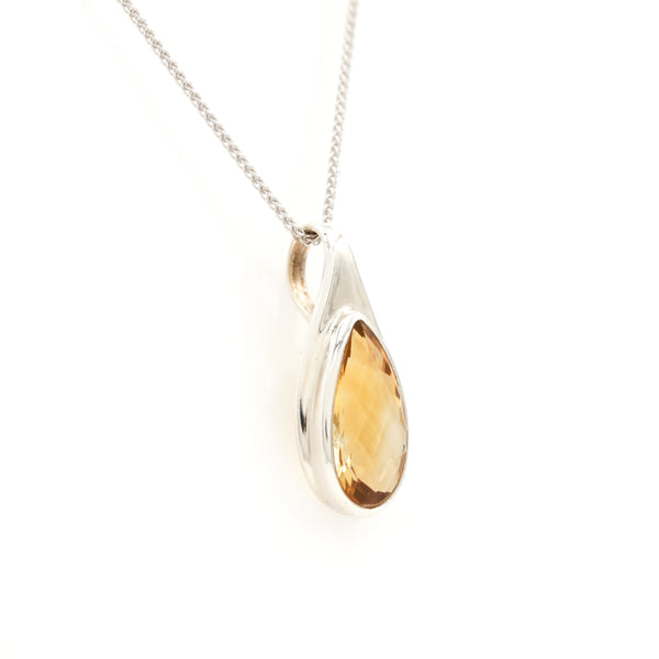 Pear Shaped Citrine in Sterling Silver Necklace - Sindur