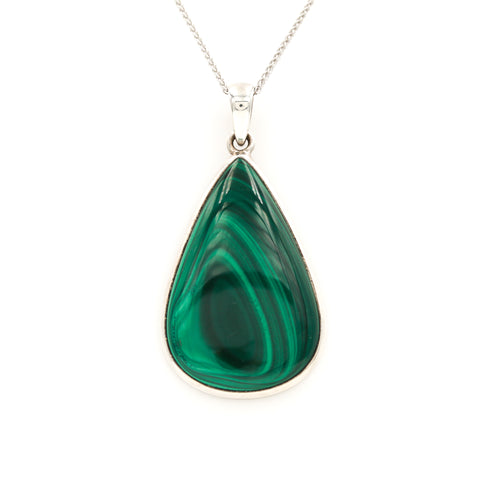 Malachite in Sterling Silver Necklace - Sindur Style