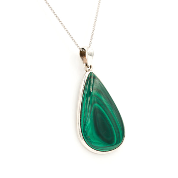 Malachite in Sterling Silver Necklace - Sindur
