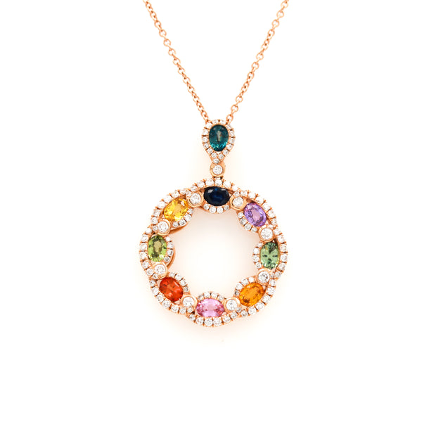 Multi-color Sapphires and Diamonds in Rose Gold Necklace - Sindur Style