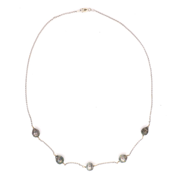 Baroque Black Pearl in White Gold Station Necklace - Sindur
