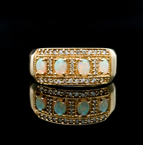 *SOLD* Opals and Diamonds in Yellow Gold Band - Sindur Style