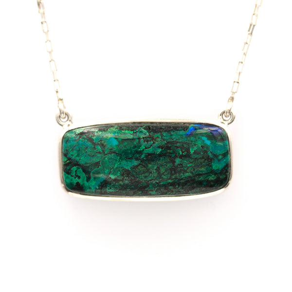 Azurmalachite Cabochon in Sterling Silver Necklace - Sindur Style