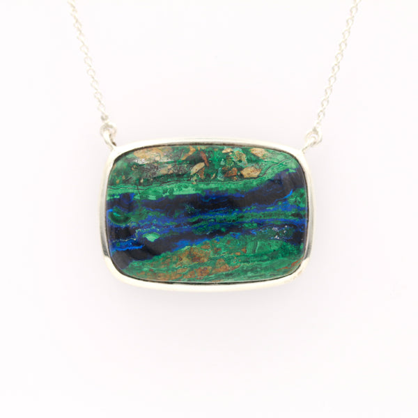 Azurmalachite in Sterling Silver Necklace - Sindur