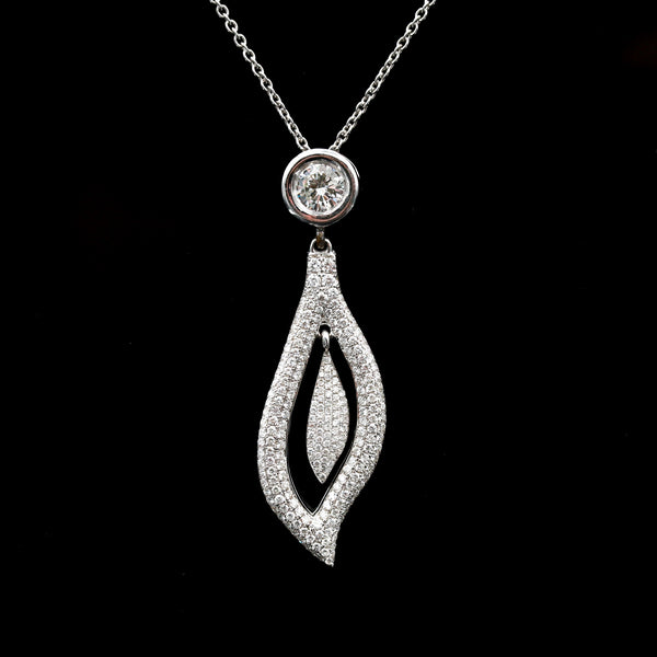 Diamonds in White Gold Leaf Form Necklace - Sindur